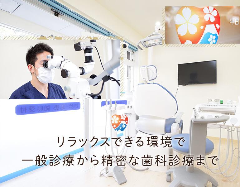 リラックスできる環境で一般診療から精密な歯科診療まで